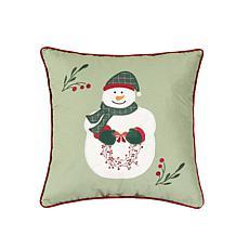 Holly Snowman Wreath Pillow