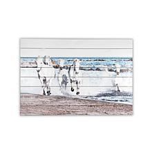Horses Running 24x36 Print on Wood