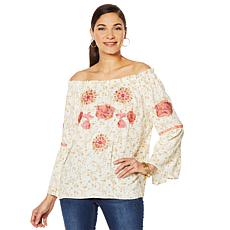 HS Embroidered Bell Sleeve Top
