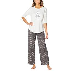 HUE 2-piece Pajama Set with Novelty Top - Missy