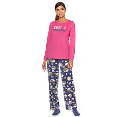 Hue Printed Knit Top, Pants and Socks Pajama Set