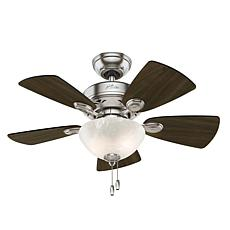 "Hunter 34"" Watson Brushed Nickel Ceiling Fan w Light Kit and Chain"