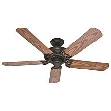 "Hunter 52"" Bridgeport New Bronze Ceiling Fan w Pull Chain, Damp Rated"