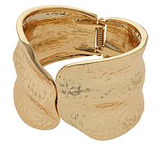 IMAN Boho Chic Goldtone Hammered Bypass Cuff Bracelet