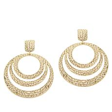 IMAN Boho Chic Goldtone Hammered Circle Earrings