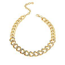 "IMAN Global Chic 16-1/2"" Goldtone Crystal Curb-Link Necklace"