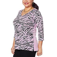 IMAN Global Chic 3/4-Sleeve Print to Solid V-Neck Tunic