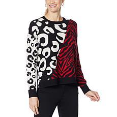 IMAN Global Chic Animal-Print Jacquard Pullover