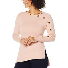 IMAN Global Chic Asymmetric Pullover Sweater