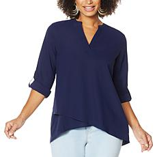 IMAN Global Chic Asymmetric Y-Neck Top