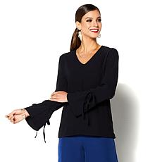 IMAN Global Chic Beautiful Tie Sleeve Top