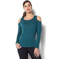 IMAN Global Chic Comfort Luxe Cold-Shoulder Long-Sleeve Tee