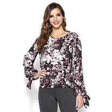 IMAN Global Chic Dramatically Draped Tie-Sleeve Blouse