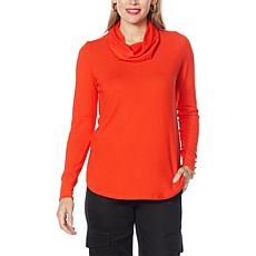 IMAN Global Chic Hacci Knit Cowl-Neck Top