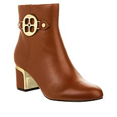 IMAN Global Chic Leather Bootie with Metal Logo Detail