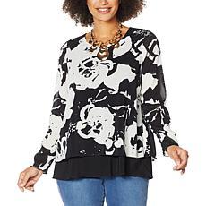 IMAN Global Chic Long-Sleeve Layered Tunic Top