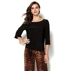 IMAN Global Chic Luxurious Tie-Front Top