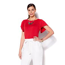 IMAN Global Chic Luxury Resort Ruffle Sleeve Top