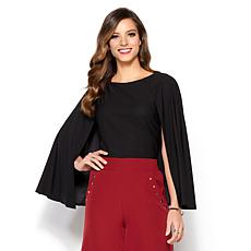 IMAN Global Chic Make a Statement Beautiful Cape Top with Stretch
