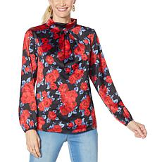 IMAN Global Chic Mock Neck Pleat-Front Blouse