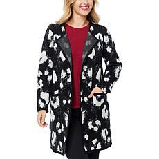 IMAN Global Chic Open-Front Sweater Coat - Cheetah Print
