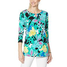 IMAN Global Chic Printed Keyhole 3/4 Sleeve Tunic