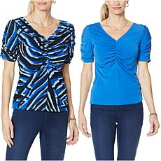 IMAN Global Chic Reversible Knit Top with Shirred Details