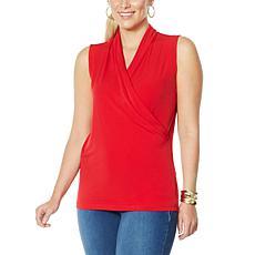 IMAN Global Chic Sleeveless Drape-Front Top