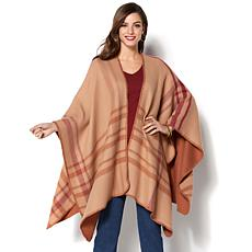 IMAN Global Chic Soft Knit Luxury Plaid Reversible Ruana
