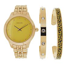 IMAN Global Chic Watch and 2-piece Cuff Set