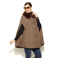 IMAN Platinum Luxurious City Cape with Faux Fur Collar