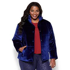 IMAN Platinum Wrap Yourself in Luxury Velvet Puffer Coat