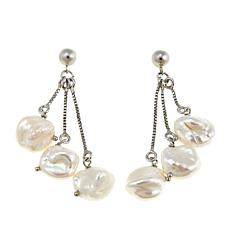 Imperial Pearls 10-12mm Cultured Keshi Pearl Dangle Earrings