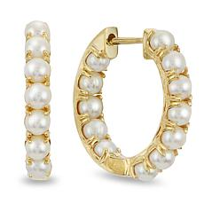 Imperial Pearls 14K Cultured Seed Pearl Inside-Outside Hoop Earrings