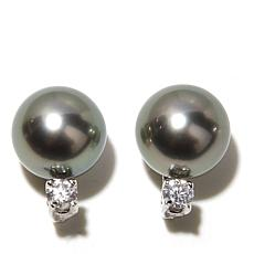 Imperial Pearls 9-10mm Black Pearl & Diamond 14K Studs