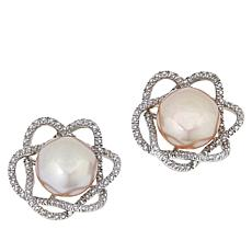 Imperial Pearls Cultured Pearl and Diamond Woven Stud Earrings