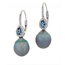 Imperial Pearls Topaz and Cultured Tahitian Pearl Drop Earrings