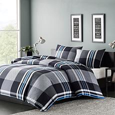 INK+IVY Nathan Cotton Duvet Cover Mini Set - Grey - Full/Queen