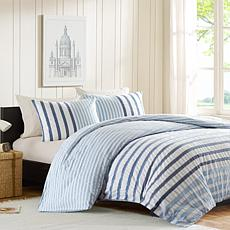 INK+IVY Sutton Cotton Duvet Cover Set - Blue - Twin