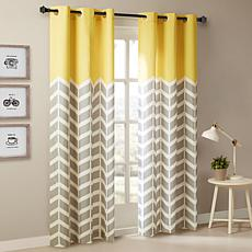 "Intelligent Design Alex Chevron Grommet Curtain Pair-Yellow-42""x84"""