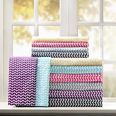 Intelligent Design  Chevron Printed Microfiber Sheet Set - Full/Gray