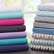 Intelligent Design Cotton-Blend Jersey Sheet Set - Purple - Full
