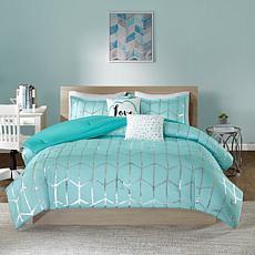 Intelligent Design  Raina Aqua/Silver Metallic Comforter Set Twin/TXL