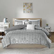Intelligent Design  Raina Gray/Silver Metallic Comforter Set King/CalK