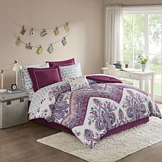 Intelligent Design  Tulay Complete Bed And Sheet Set Purple Queen