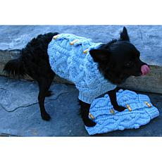 Isabella Cane Knit Dog Sweater - Blue Toggle Large