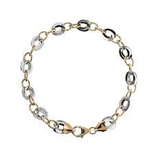 Italian Gold 14K Two-Tone Link Bracelet - Average
