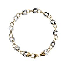 Italian Gold 14K Two-Tone Link Bracelet - Average