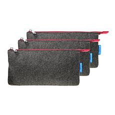 """Itoya Profolio Midtown Pouch 5"""" x 9"""" Charcoal/Maroon 3-Pack"""