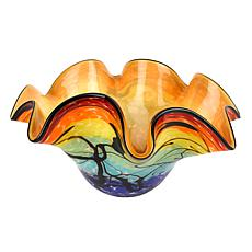 "Jack Badash Allura Murano Style Art Glass 15"" Centerpiece Bowl"